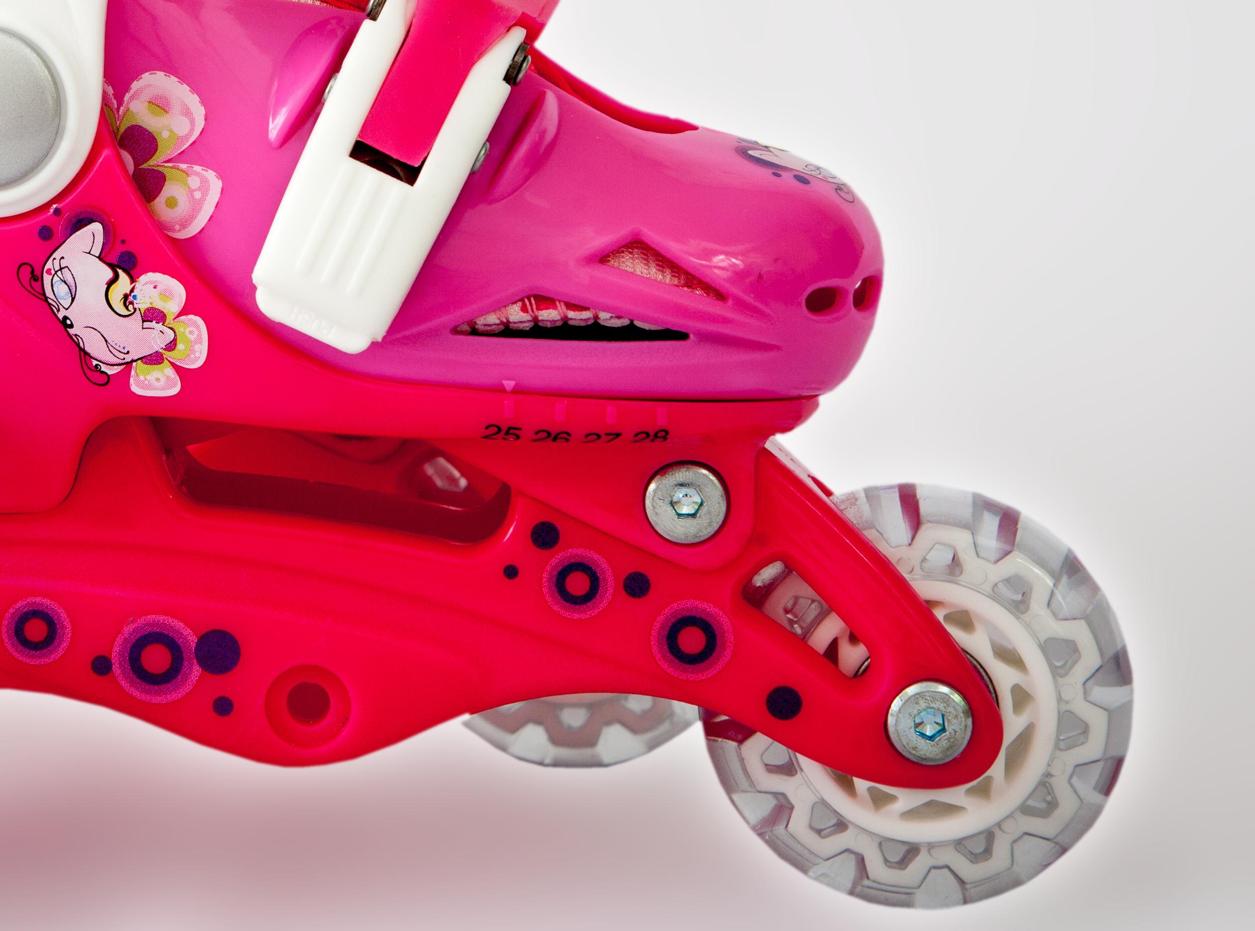Ролики детские 26 размер, для обучения (трансформеры, раздвижной ботинок) MagicWheels розовые, - фото 5